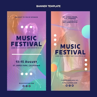 Gradient colorful music festival vertical banners