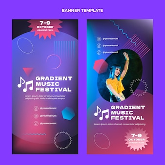 Gradient colorful music festivalvertical banners
