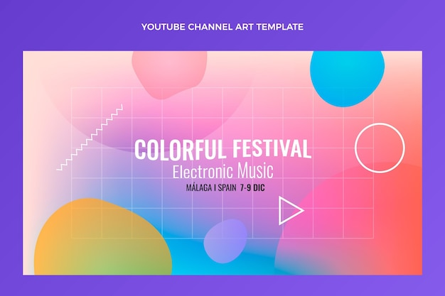 Градиент красочный музыкальный фестиваль youtube channel art