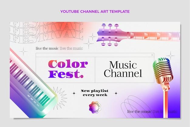 그라데이션 다채로운 음악 축제 youtube 채널 아트