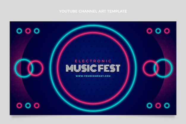 Gradient colorful music festival youtube channel