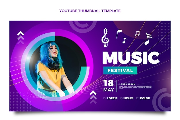 Gradient colorful music festival youtube thumbnail