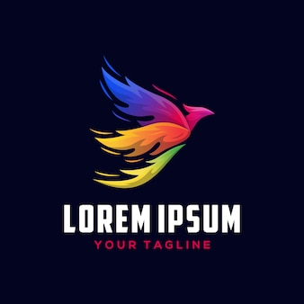 Gradient colorful phoenix logo template