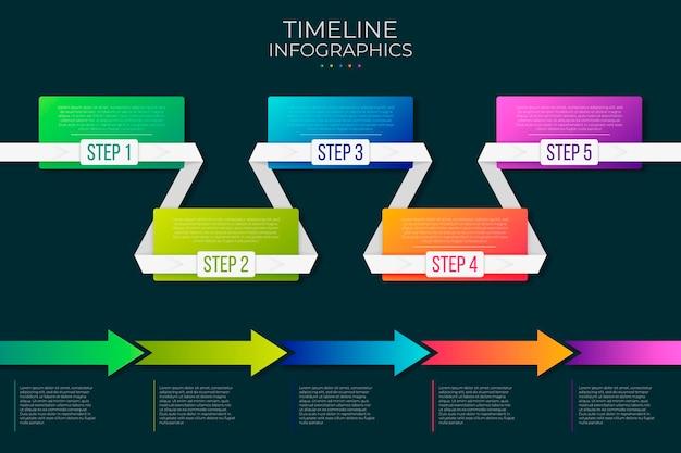 グラデーションのカラフルなタイムラインのインフォグラフィック