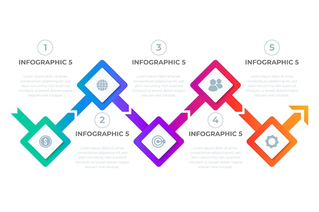 그라데이션 다채로운 타임 라인 infographic