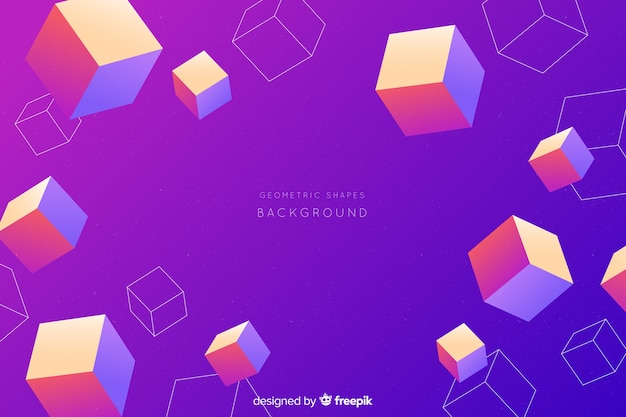 Gradient colorful tridimensional shapes background