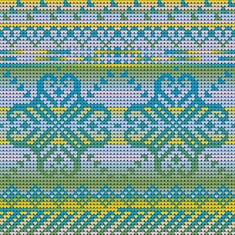 冬の花とクリスマス醜いセーターのグラデーションの色のシームレスなパターン