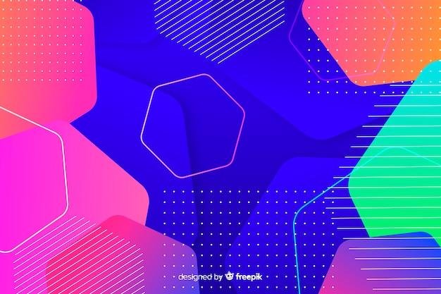 グラデーションのカラフルな幾何学的図形の背景とドット