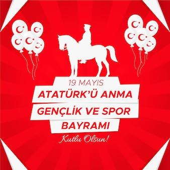 Commemorazione gradiente di ataturk, illustrazione della giornata della gioventù e dello sport