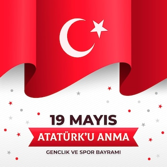 Gradient commemoration of ataturk, youth and sports day illustration