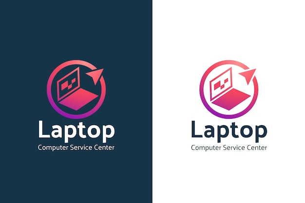 Шаблон логотипа градиентный компьютер