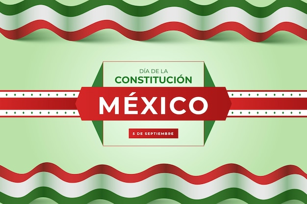 Gradient constitution day background with mexican flag
