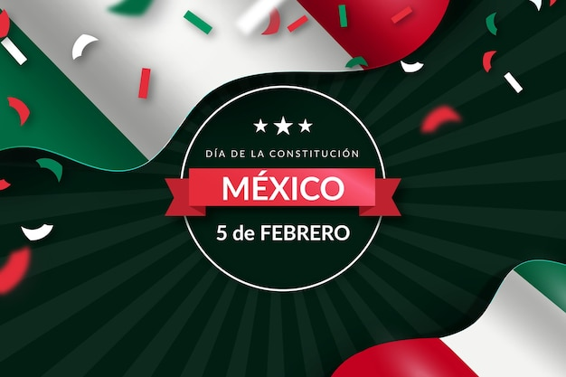 Gradient constitution day wallpaper with mexican flag