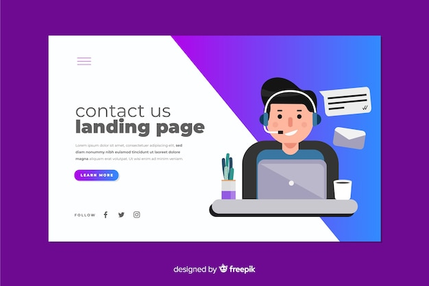Gradient contact us landing page with operator at desk