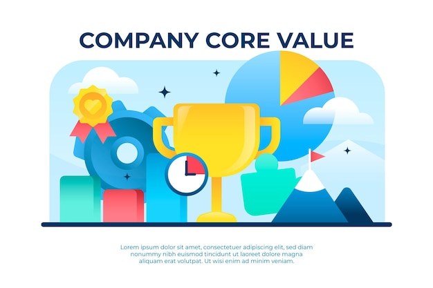 Gradient core values concept illustration