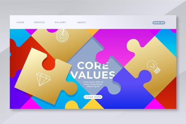 Pagina di destinazione dei valori fondamentali del gradiente