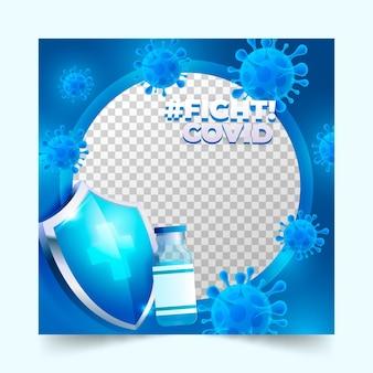Градиентная рамка для фейсбука с коронавирусом