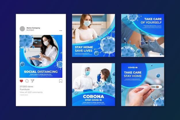 Коллекция постов в instagram с градиентом коронавируса