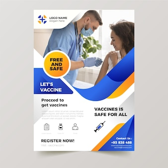 Gradient coronavirus vaccination flyer template