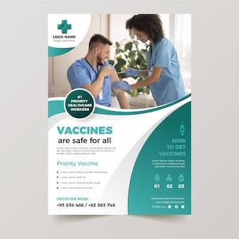 Gradient coronavirus vaccination flyer template Free Vector