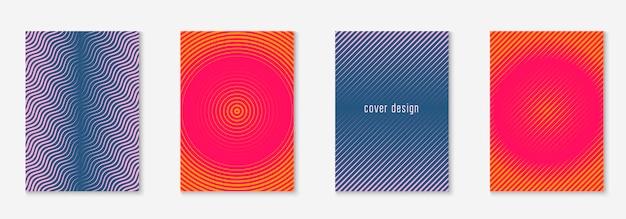 그라데이션 표지 템플릿입니다. 오렌지와 핑크. 색상 초대, 웹 앱, 소책자, 페이지 모형. 선 기하학적 요소와 모양이 있는 그라디언트 커버 템플릿입니다.