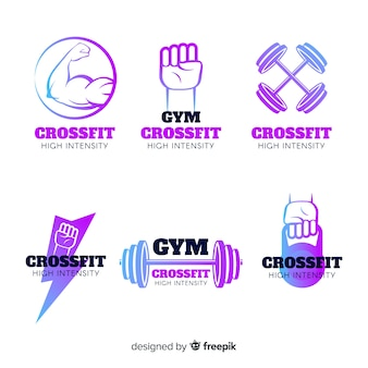 Gradient crossfit logo templates collection