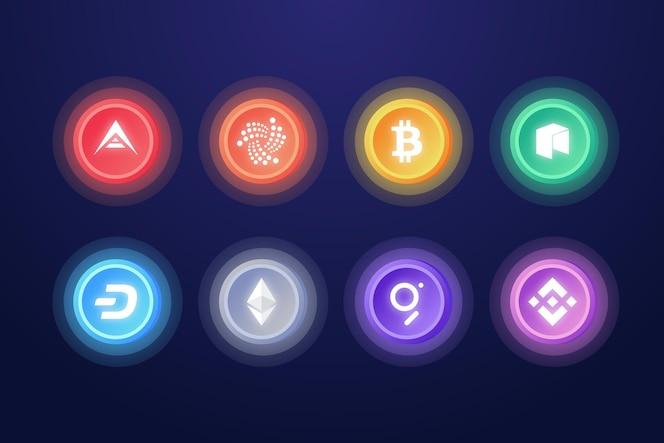 Коллекция градиентных криптографических логотипов