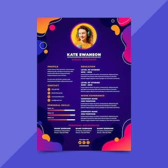 Gradient cv template with photo