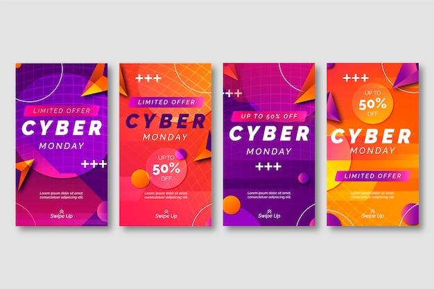 Gradient cyber gradient cyber monday instagram stories collection