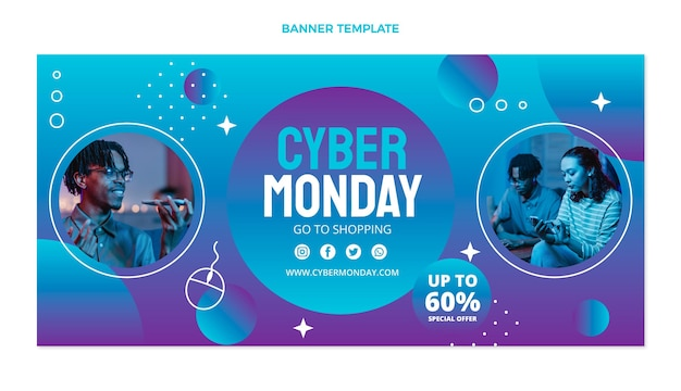 Gradient cyber monday banner template