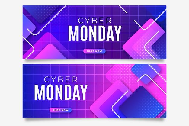 Gradient cyber monday horizontal banners set