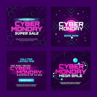 Gradient cyber monday instagram posts collection