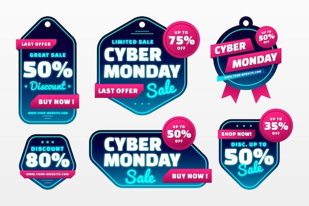 Collezione di etichette gradiente cyber lunedì