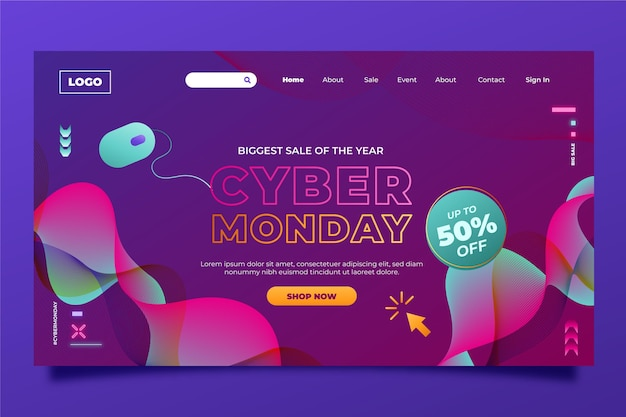 Gradient cyber monday landing page template