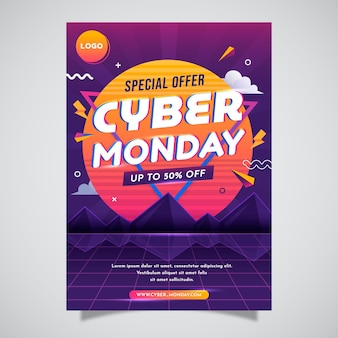 Gradient cyber monday poster template
