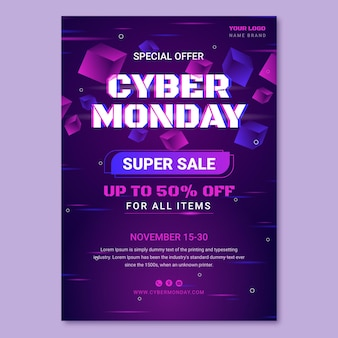Gradient cyber monday vertical poster template