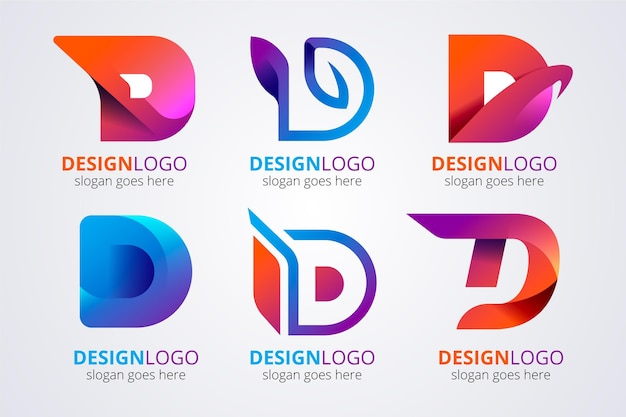 Gradient d logo template collection
