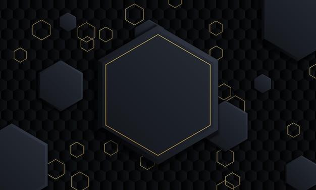 Gradient dark and golden hexagonal background.vector illustration.