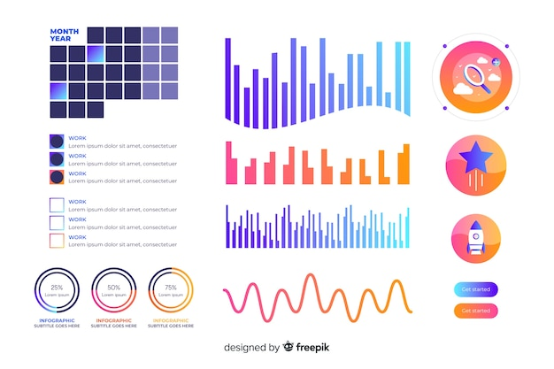 Gradient dashboard element collection