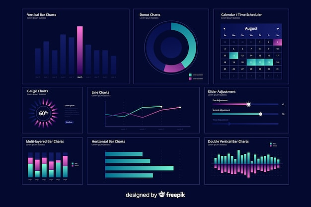 Gradient dashboard elements collection