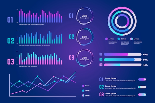 Gradient dashboard template element collection