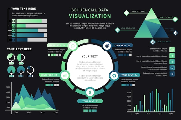 Gradient data visualization infographic