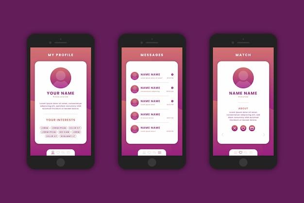 携帯電話のグラデーションデートアプリのインターフェース