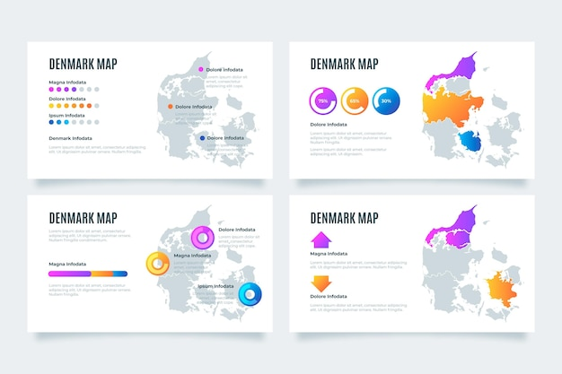 Gradient denmark map infographic