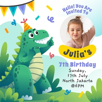 Gradient design of birthday invitation