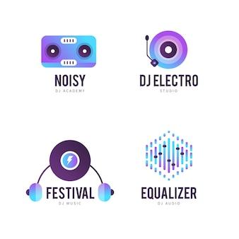 Collezione di modelli di logo dj gradiente