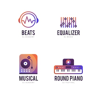 Gradient dj logo template collection