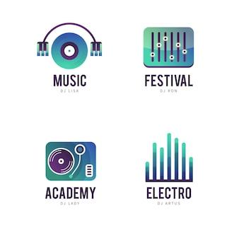 Коллекция шаблонов логотипов градиента dj