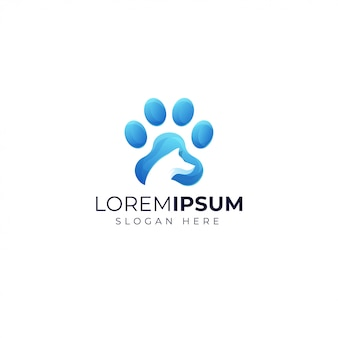 Gradient dog logo design template