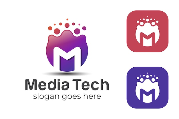 Gradient dot circle with letter m for studio media technology, internet global network logo template